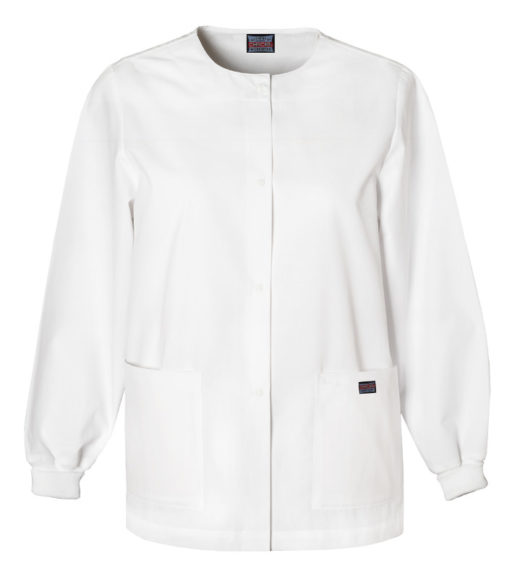 Cherokee Snap Front Warm Up Jacket White